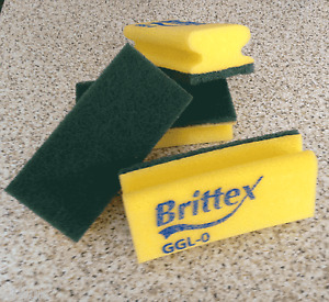 3M Brittex GGL-O green and yellow medium duty contract sponge / scourer pk of 10