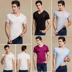 Herren 100% Seide V-Ausschnitt T-Shirts Kurzarm Nachthemden Sisters-Silk