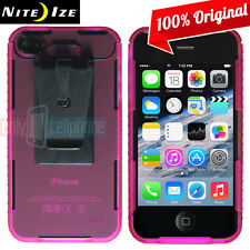 NEW Nite Ize Transparent Pink Case Cover w/ Removable Belt Clip for iPhone 4S 4