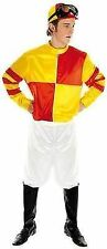 Mens Red & Yellow Jockey Fancy Dress Party Costume Size Medium 2387m