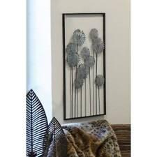 Wanddeko, Wandbild FLOWERS BLUMEN 62x31cm anitk silber Metall Casablanca
