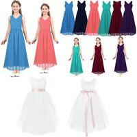 Girl Lace Long Dress Flower Girl Chiffon Maxi Gown Princess Party Wedding Dress