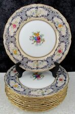 (10) Antique Royal Doulton Cobalt & Gold Gilt Bone China Dinner Plates
