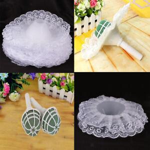 16pcs /Set DIY Bridal Flower Decor Bouquet Foam Handle Holder+Lace Collar