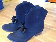 Vivienne Westwood navy flock ankle boot. Size 39