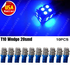 10x T10 W5W 194 168 501 2825 Car Ultra Blue 20 SMD LED Side Wedge Light Bulb 12V