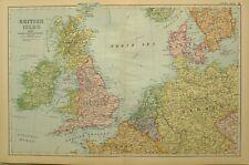 1902 MAP BRITISH ISLES HOLLAND BELGIUM GERMANY ENGLAND WALES IRELAND DENMARK