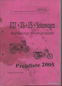Händler Preisliste Ersatzteile MZ ETZ / TS / ES / Seitenwagen