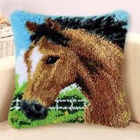 Horse Latch Hook Rug Kits Pillow Case Making for Kids Beginner 43x43cm
