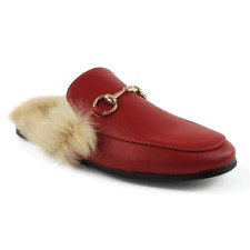 RED Backless Mule Slip On  Leather Fur Gold Buckle Loafers Shoes Slipper AZAR