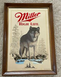 Miller High Life Great Timber Wolf Mirror - Wildlife Series -  Very Nice!