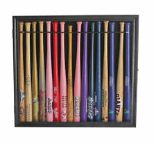 "Small Mini Baseball Bat 18"" Shadow Box Display Case Holds 16 bats. Black"