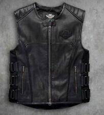 Harley Davidson Men's Black Biker Swat || Motorcycle Genuine Leather Jacket Vest