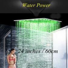 "Huge 24"" Square Rainfall Shower Head Ceiling LED Chrome Brass Top Sprayer Head"