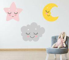 Pastel Sleepy Moon Star Cloud Wall Stickers Decals Nursery Children's Grey Pink
