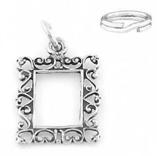 STERLING SILVER  PICTURE FRAME CHARM WITH SPLIT RING