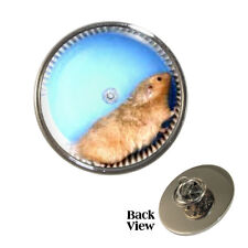 Hamster in Wheel Pin Badge pet rodent exercise cage Brand New