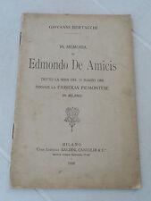 547B - IN MEMORIA DI EDMONDO DE AMICIS G. BERTACCHI ED. BALDINI, CASTOLDI 1908