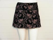 "ARDEN B Skirt Black Lace w/Lavender Floral Above Knee LINED, Sz L - W32"" x L15"""