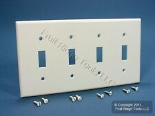 Leviton White Standard 4-Gang Toggle Light Switch Cover Plastic Wallplate 88012