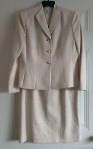 Le Suit ⚜️ Sz 10P Gorgeous Ivory /Gold Paisley Floral Brocade Jacket & Skirt Set