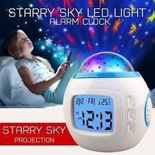 Enfants LED Musique Réveil Numérique Ciel Projection Étoile Calendrier Heure