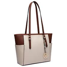Women Designer Faux Leather Tote Shoulder Handbag Long Handle Bag White Brown