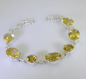 Yellow 925 Solid Sterling Silver Natural appealing Citrine gemstones Bracelet AU