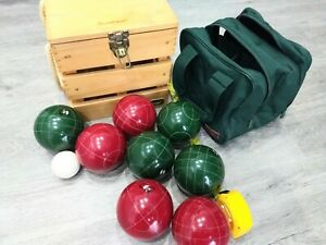 Sportcraft Heritage Bocce Ball Set 8 + Wood Travel Case