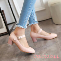Stylish Womens Round Toe Block Mid Heels mary jane Ankle Strap Pumps Shoes date#
