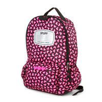 Digital Heart Nylon Backpack Black & Pink Girl's School Book Bag - NWT