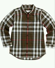 NWT Burberry Boys Plaid button down Check Shirt brown Sz 4 3 Years  Top $145