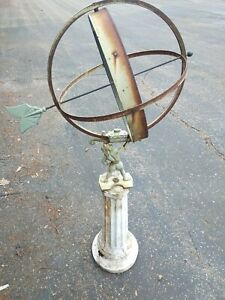 "Fine Swedish Bronze Iron Garden Armillary Sphere Hercules A.R Aronsson 48x24"""