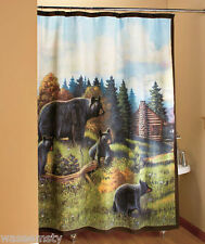 northwoods woodland log cabin lodge pine tree black bear family shower curtain