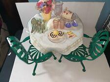 2000 1st Edition Kit Kittredge American Girl Doll Tea Time Set Table Chairs Food