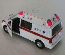 Alloy Toys Diecast Car 1/32 White Ambulance Medical vehicles Model w/Light&Sound