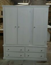 HANDMADE AYLESBURY (WHITE) TRIPLE WARDROBE WITH SILVER KNOBS!! NOT FLAT-PACK!!!
