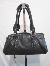 Authentic CHLOE Logos Paddington Black Italy Leather Shoulder Satchel Handbag