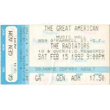 The Radiators Concert Ticket Stub Gamh 2/15/92 San Francisco Ca Law Of The Fish