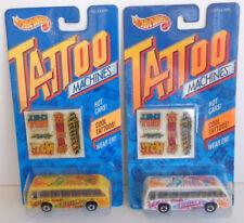 2 Hot Wheels Tattoo Machines Bus Boys Yellow & White 1992