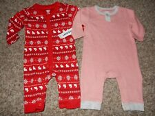 Set of 2 Nwt 0-3M Old Navy Girls Romper Jumper Unionsuit Sleeper Outfits