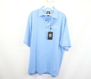 New FootJoy Mens Medium Pro Dry Solid Lisle Golfing Golf Polo Shirt Light Blue