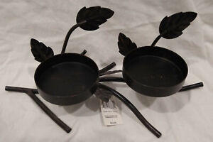 """Yankee Candle Metal Leaves Double Pillar Holder--Brown Brushed Antique/Fall--13"""""""