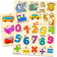 Wooden Puzzles Set for Toddlers Counting Numbers Animals Vehicles 2 3 4 Years