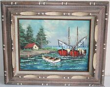 Old Seascape Oil Painting Fishing Boat Near Shore