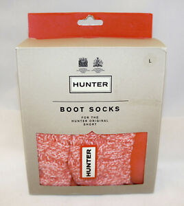 HUNTER 6 Stitch Cable Rhythmic Pink Size L W 8-10 / M 7-9 Boot Sock Org Short