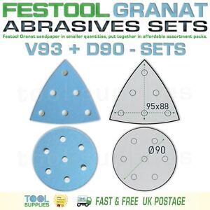 Festool GRANAT ROTEX 90 mm Sandpaper Assortment Packs, RO90DX D90 V93 93V SET