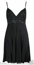 River Island Strappy Black Pleated Sequin & Bead Embellished Skater Dress New