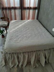 Linen Dust Ruffle Bed Skirt Queen bedskirt King bed skirt natural bedding gift