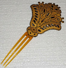 ANTIQUE VICTORIAN HAIR COMB - VICTORIAN CUT STEEL AND HORN